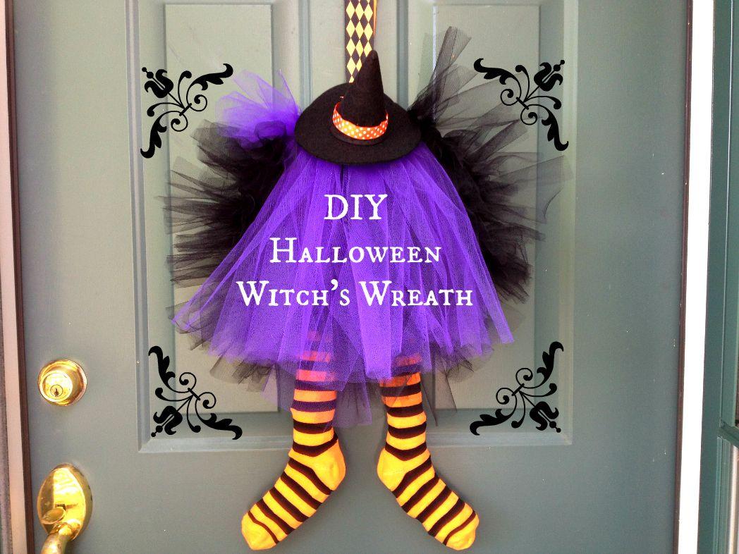 Homemade Halloween Decorations - Quick  Easy! Witch wreath - cool homemade halloween decorations