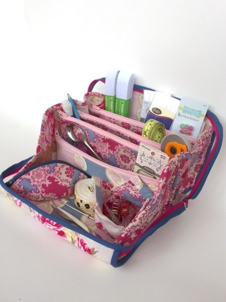 This Cratfsy  sewing gear bag looks fabulous in Sis Boom's Caravelle Arcade fabric line!