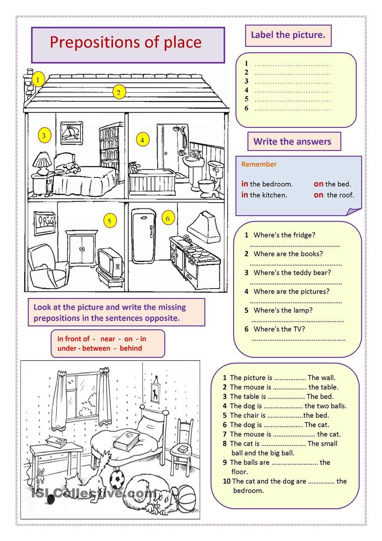 prepositions of place koulu en pinterest prepositions english and worksheets. Black Bedroom Furniture Sets. Home Design Ideas