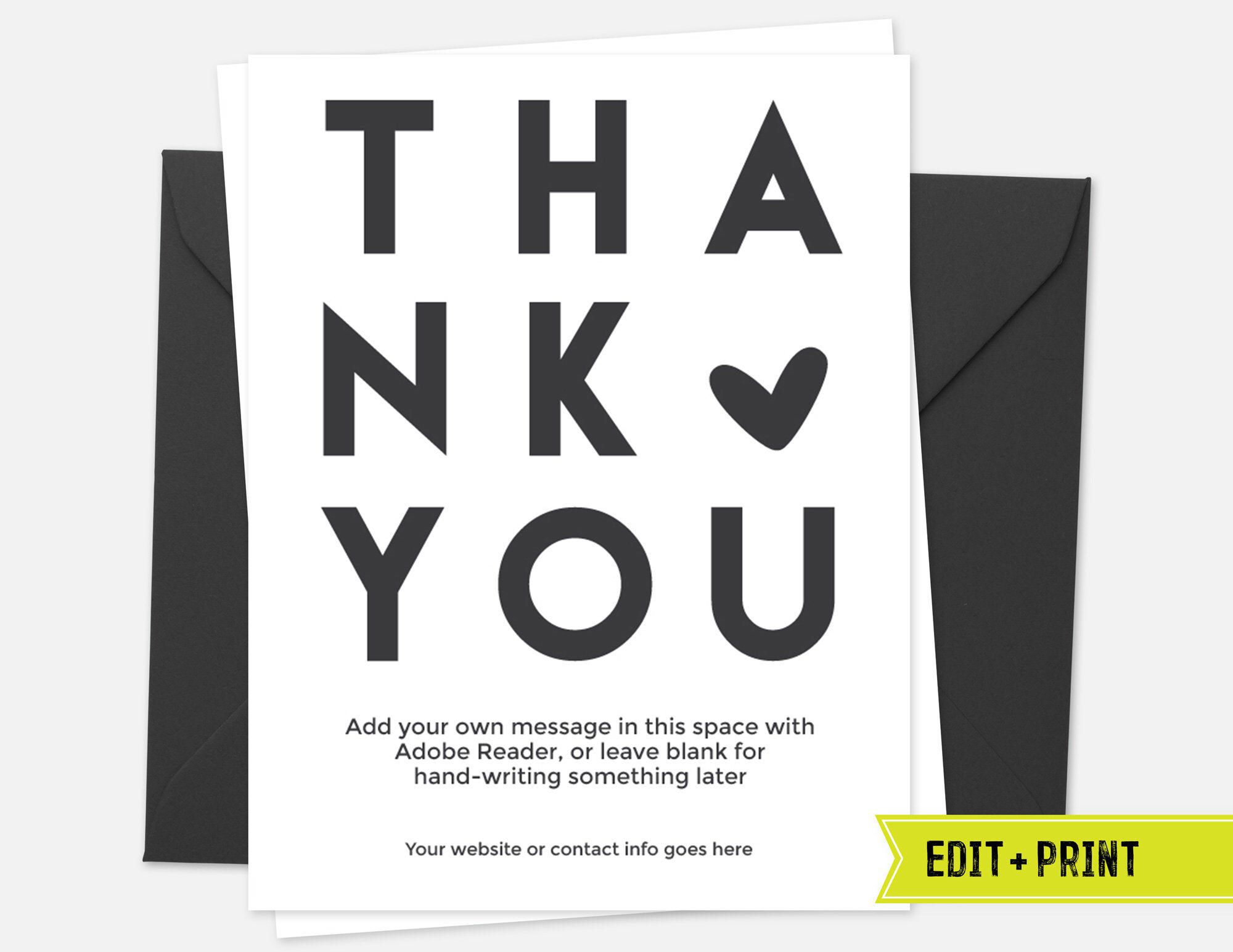 Business thank you card printable instant download etsy