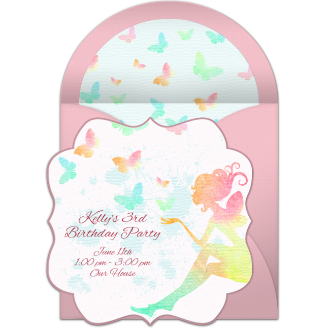 Customizable Free Butterfly Fairy Online Invitations Easy To Personalize And Send For A Birthday Party Punchbowl