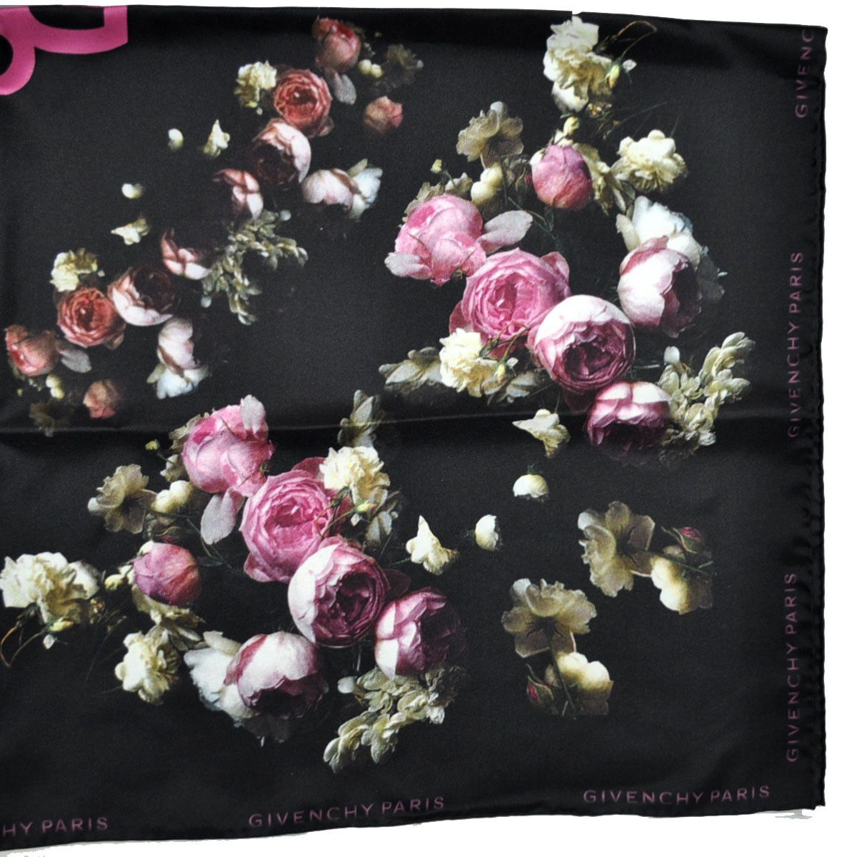 a6517dbe5f4 Authentic Givenchy scarf with black/ pink roses/ floral design, HDG (Hubert  de Givenchy) initials, twill silk large square foulard