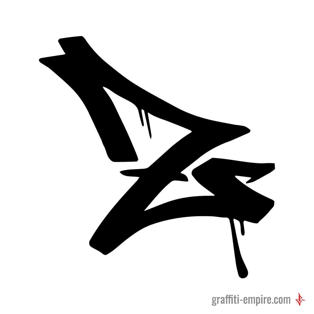 Z graffiti tag letter with drips