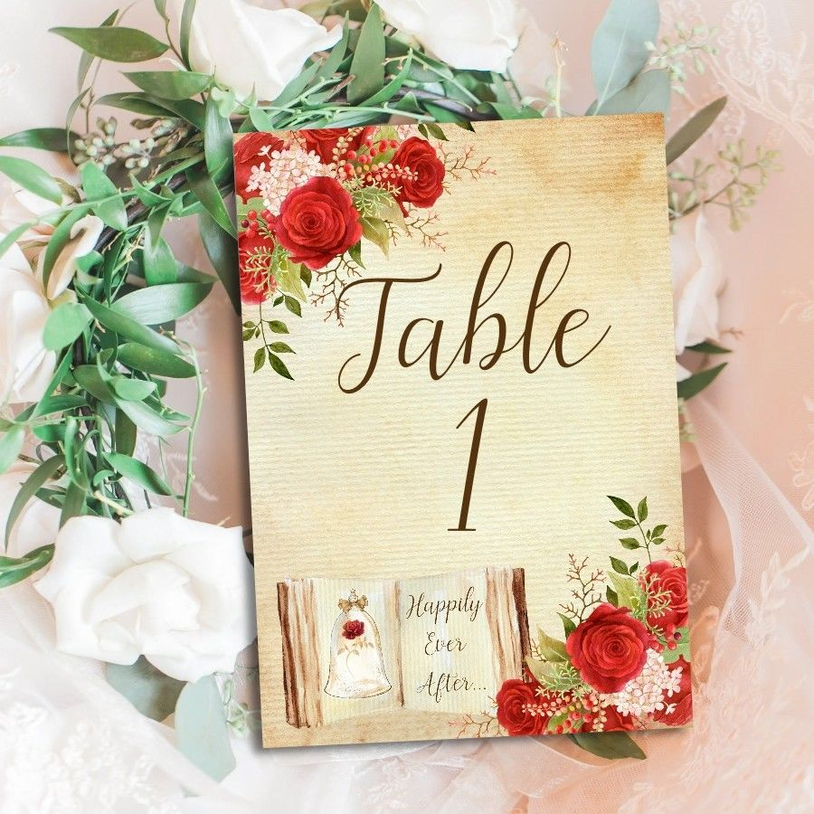 Beauty & The Beast Table Number Cards, Fairytale Decoration, Red ...