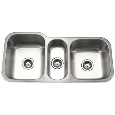 Houzer Medallion Gourmet Undermount Stainless Steel 40 In Triple Bowl Kitchen Sink Mgt 4120 1 The Home Depot Stainless Steel Kitchen Sink Kitchen Sink Sink