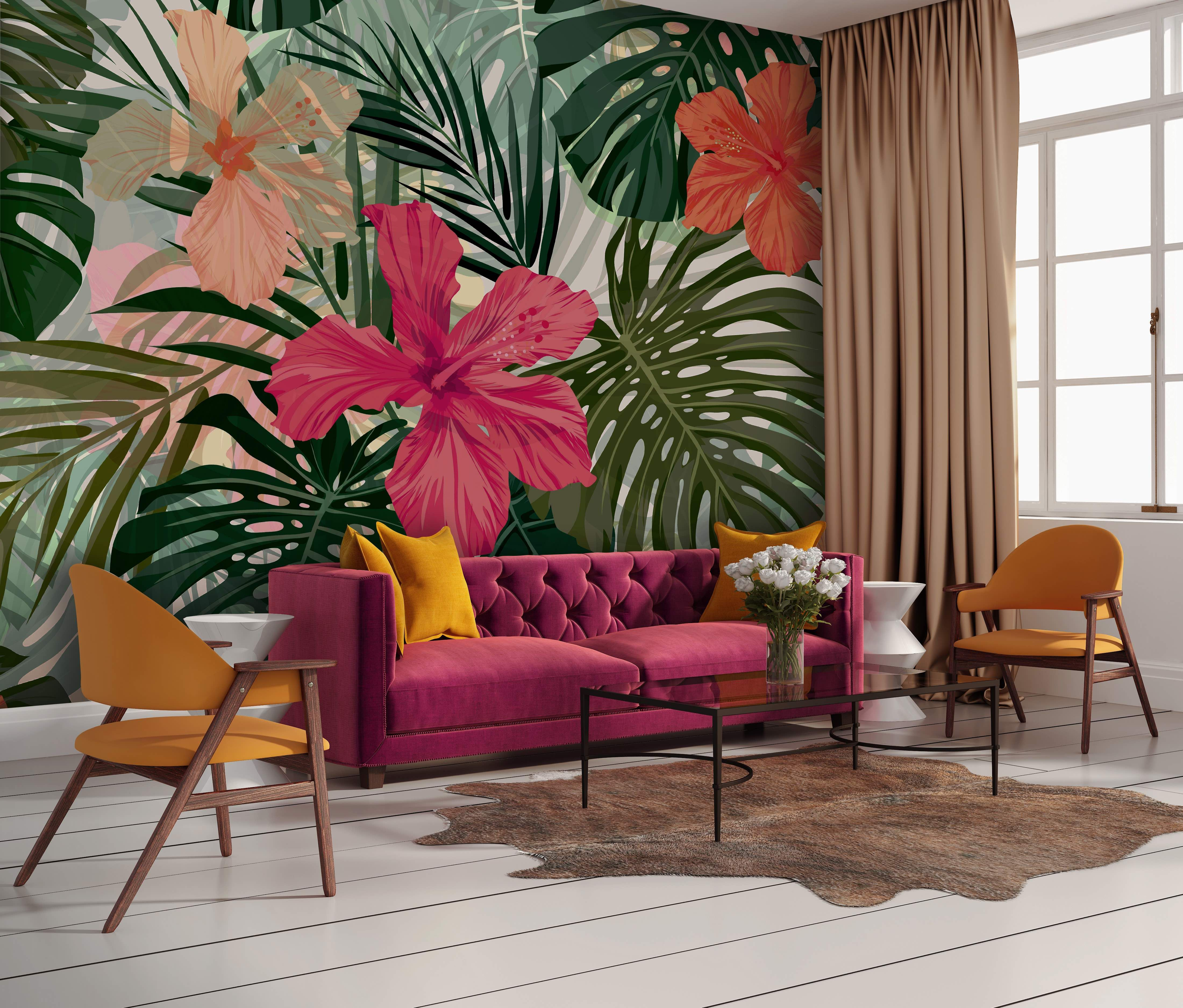 Tropical Mural in Living Room shop now at Walls4U