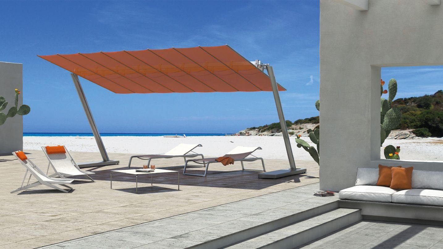 Flexy Zen Grand Parasol Autoportant Aluminium Anodise Toile Inclinable Retractable Terrasse Parasol Rectangulaire Pierre De Patio