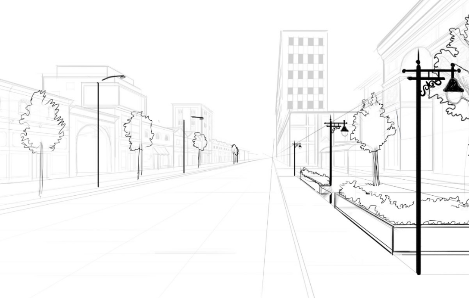 حل وظيفة رسم شارع ثلاثي الأبعاد مع أشجار مرحبا كما عودناكم دائما نقدم لكم اليوم طريقة بسي Perspective Drawing Architecture Street Scenes Landscape Drawings