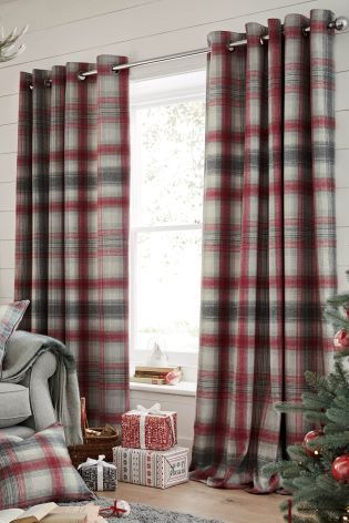 Buy Thermal Red Cosy Check Eyelet Curtain From The Next Uk Online Shop Red Curtains Living Room Cabin Living Room Curtains Living Room