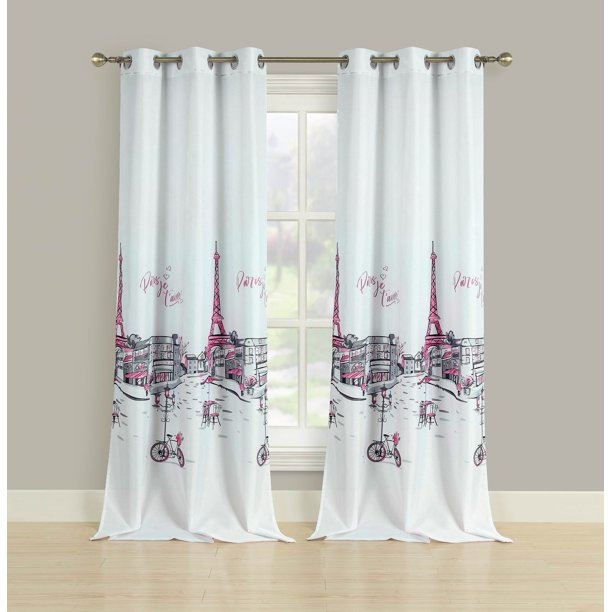 2 Window Curtains Grommet Panel Pair Drapes Pink Grey Paris Eiffel Tower 84 Walmart Com In 2021 Paris Room Decor Paris Decor Bedroom Paris Themed Room