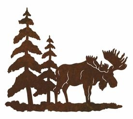 8 Moose And Pine Trees Metal Wall Art Wall Decor Metal Tree Wall Art Art Metal Wall Art