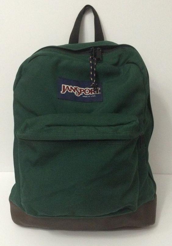 98c326a51722 Vintage JanSport USA Backpack Brown Leather Bottom Green Bag #JanSport # Backpack: