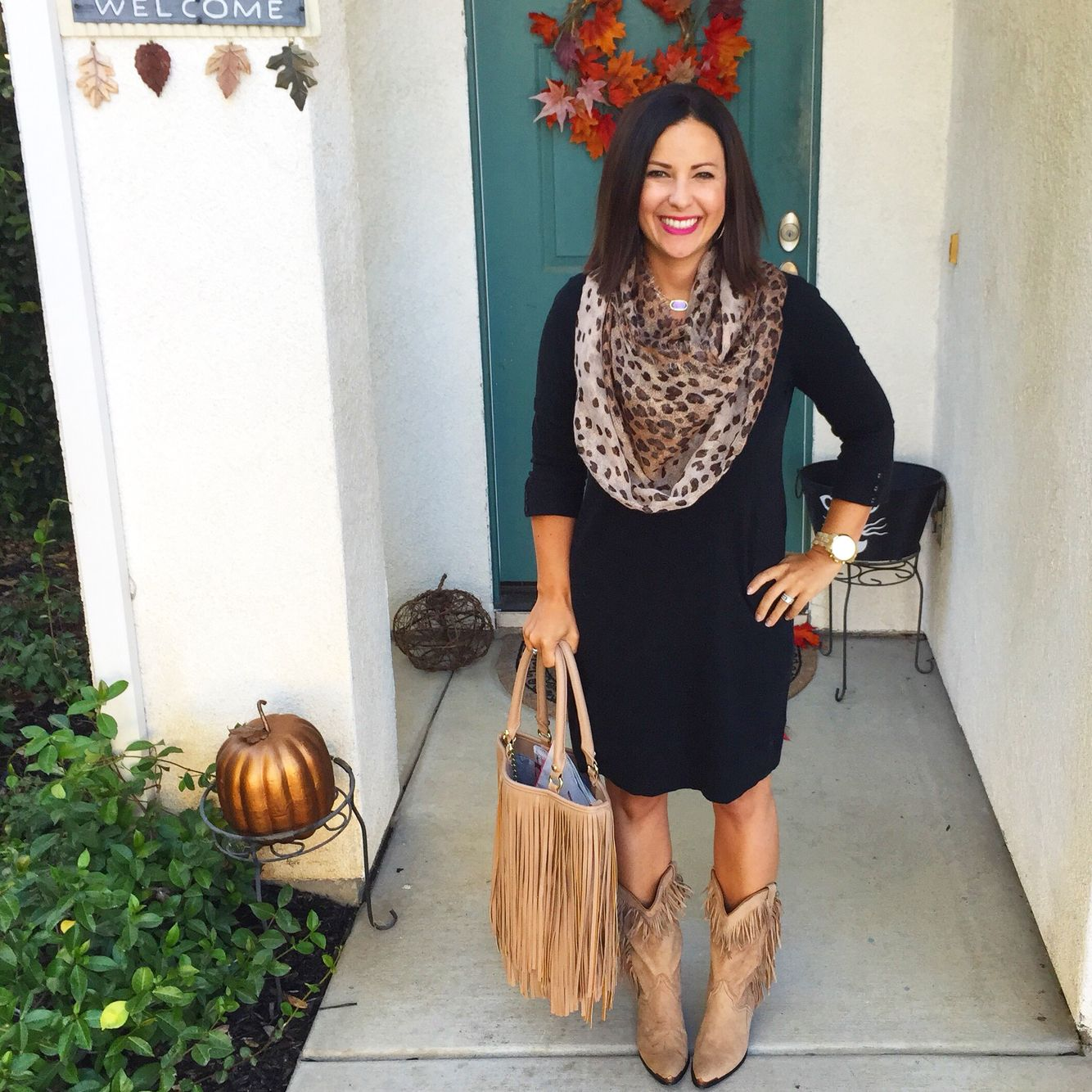 Teacher Outfit Fall Style Lbd Black Dress Leopard Scarf Ootd Fringe Boots Fringe Purse Autumn Fashion Spring Teacher Outfits Fall Outfits [ 1334 x 1334 Pixel ]
