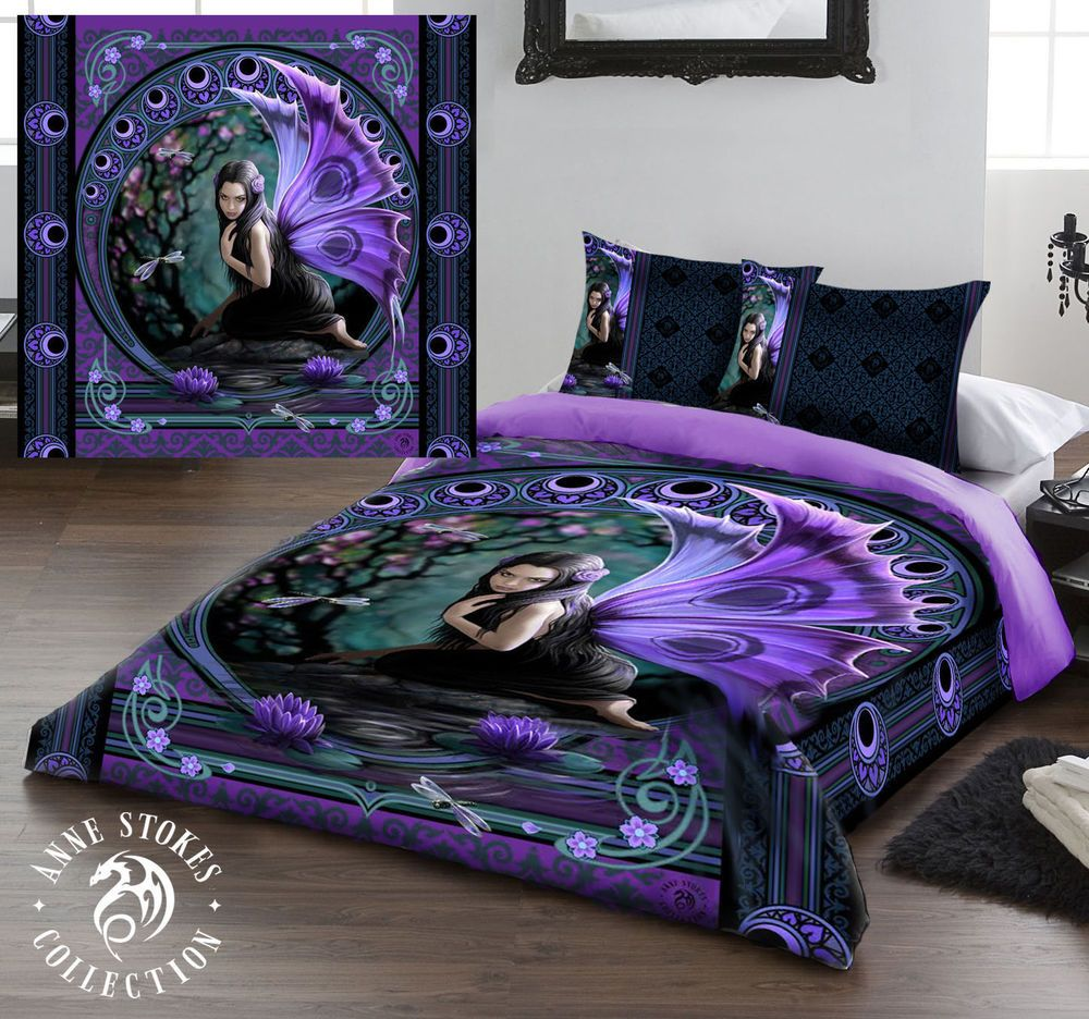 anne stokes naiad king size bed duvet cover set goth rock fairy tale fantasy anne stokes. Black Bedroom Furniture Sets. Home Design Ideas