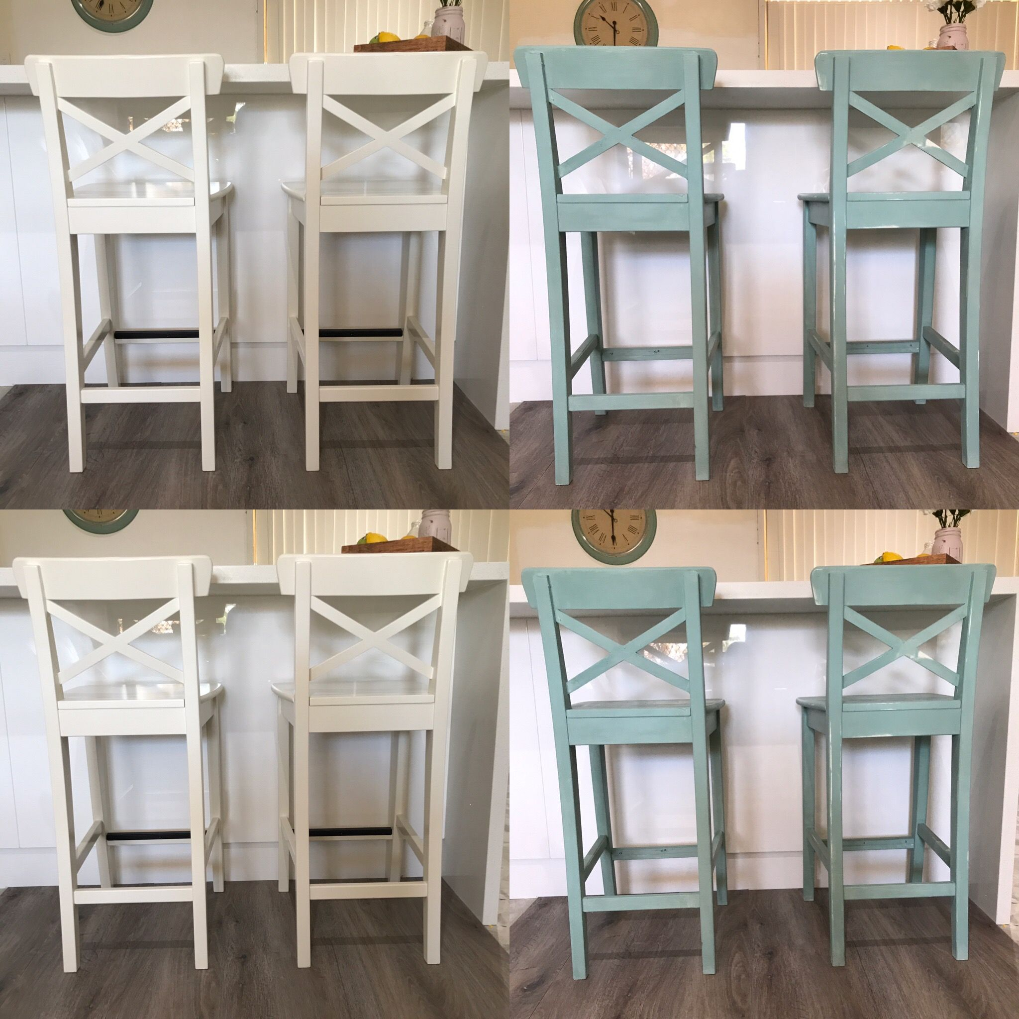 Ikea Ingolf Bar Stool 63cm Painted With Ez2 Paint In Old Duck