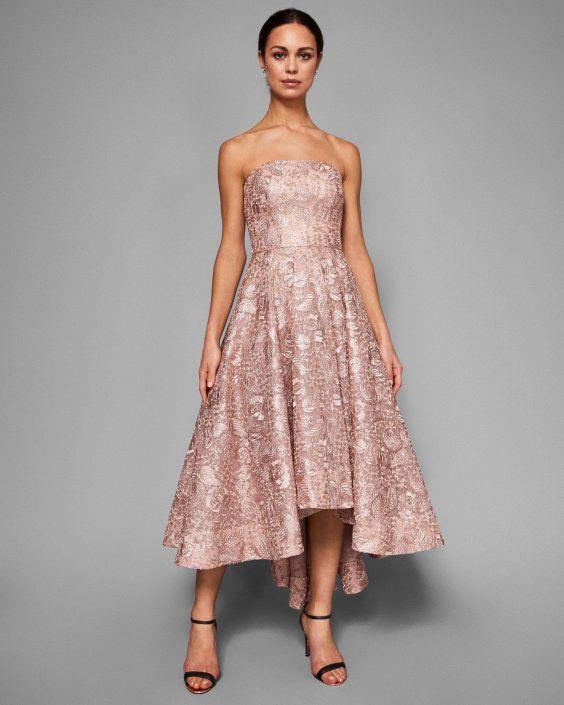 Strapless jacquard dropped hem dress - Rose pâle   robes   Ted Baker ...