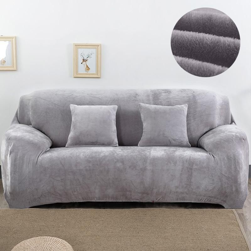 Thick Plush Sofa Cover For Living Room Couch Stretch Slipcovers