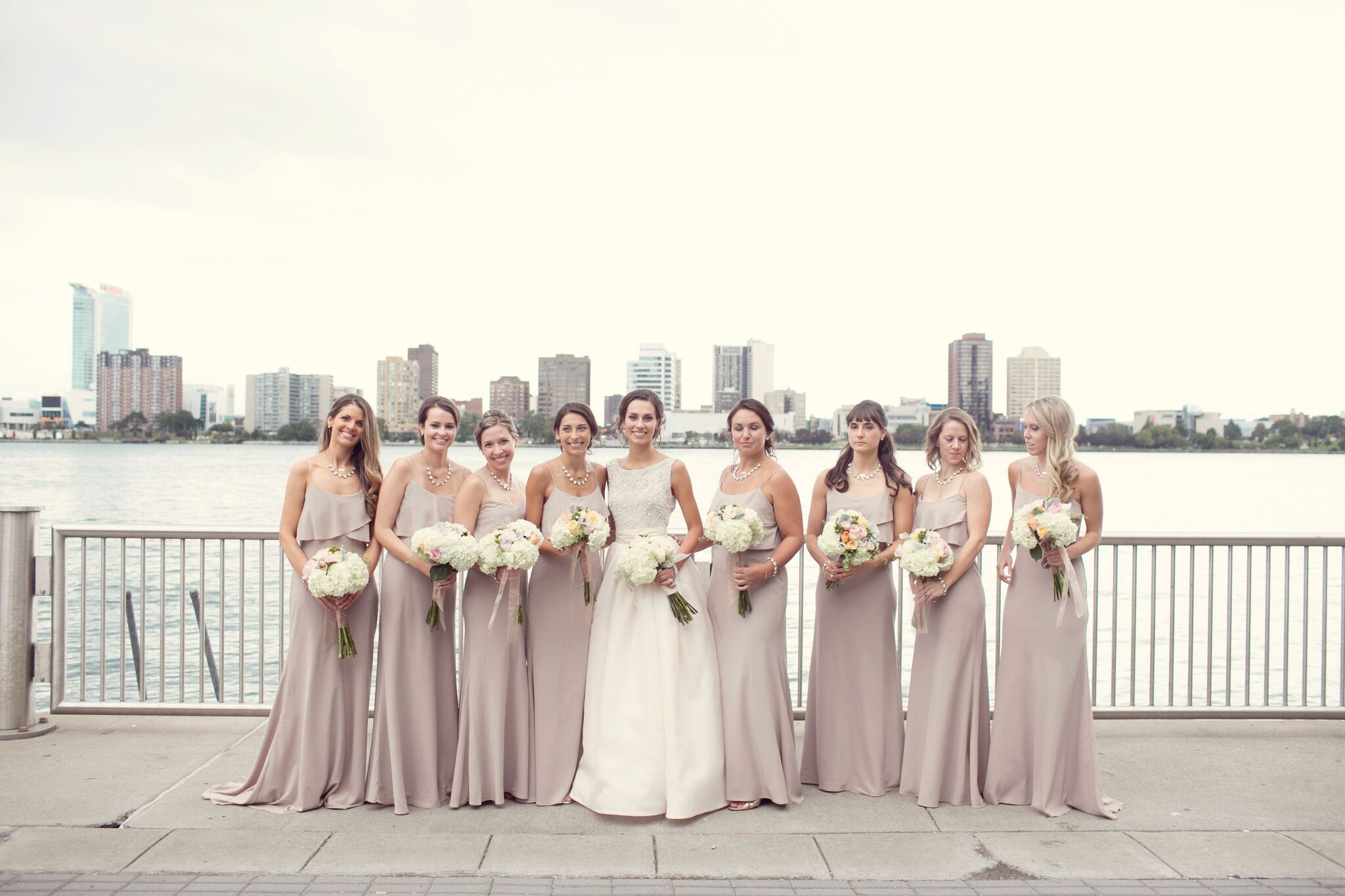 eea1c5d25a5 These flowy Jenny Yoo Blake gowns in Truffle really give the bridal party a  laid-
