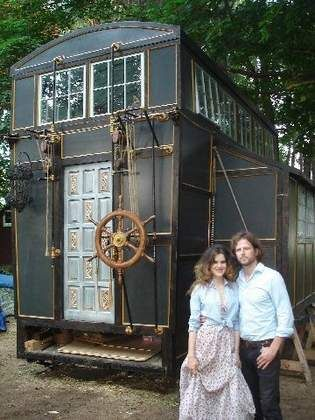 The ship's wheel and the intricate pulley system essentially add a second floor to Brandon Batchelder and Chloe Barcelou's tiny home.