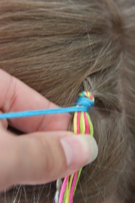 Colorful Hair Wraps in my sisters hair. using string or ...
