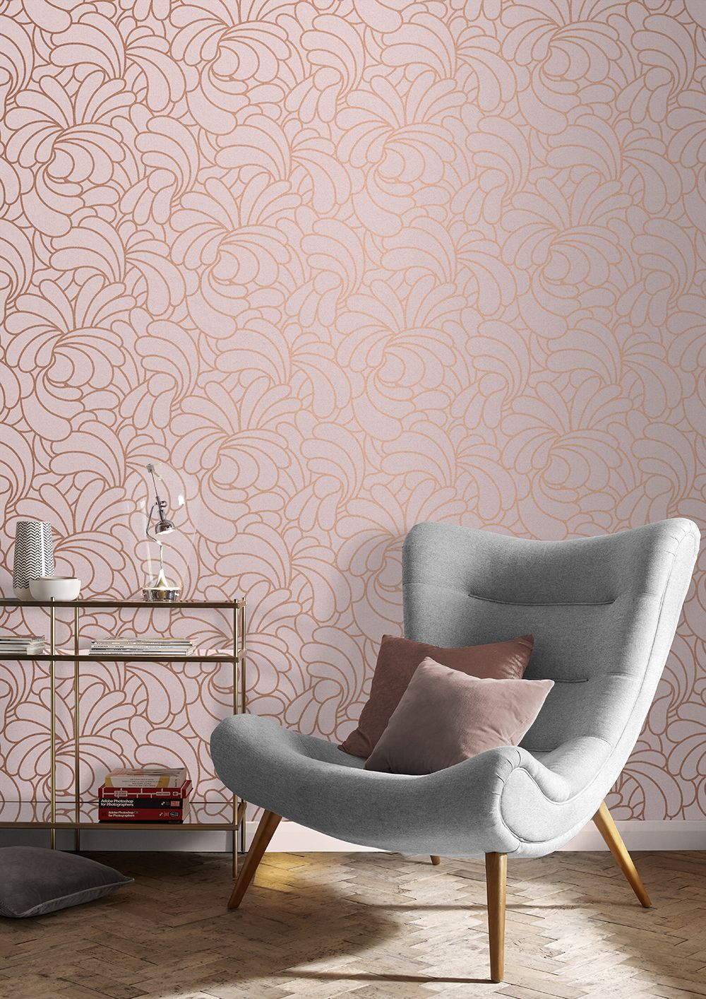 Big Bold And Iconic Barbara Hulanicki S Bananas Copper Blush Wallpaper Design Has Been Remastered In A B Blush Wallpaper Copper Living Room Rose Gold Bedroom