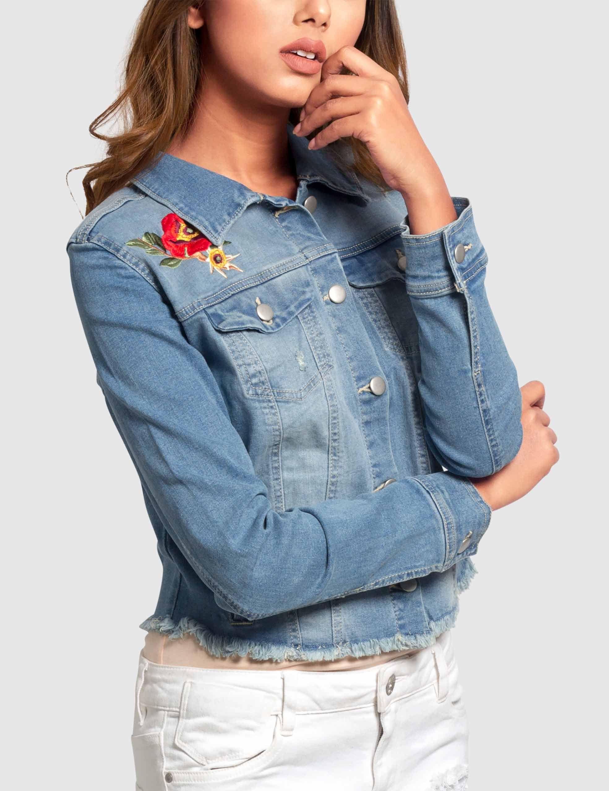 Womens Denim Jacket Embroidery Women S Jackets Coats Blazers