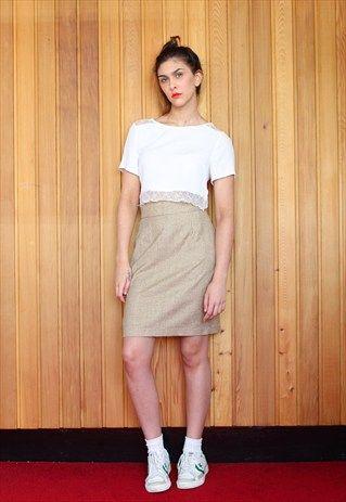 Vintage beige checked mini skirt £14