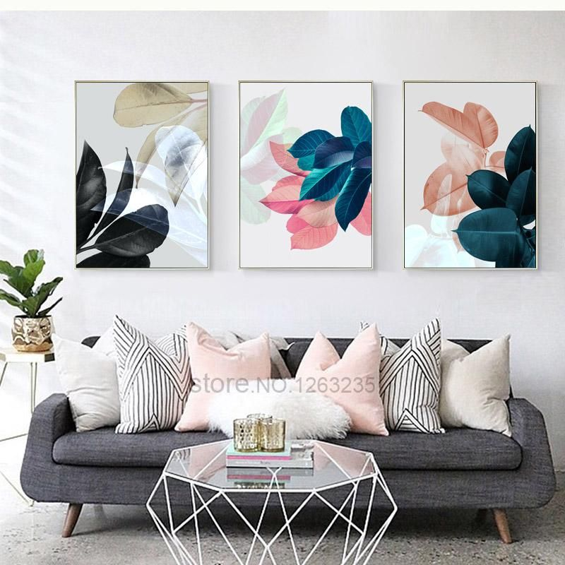 Colorful Leaf Wall Art Canvas Painting Cuadros Posters And Prints Nordic Poster Picture Wall Pictures For Living Room Unframed images