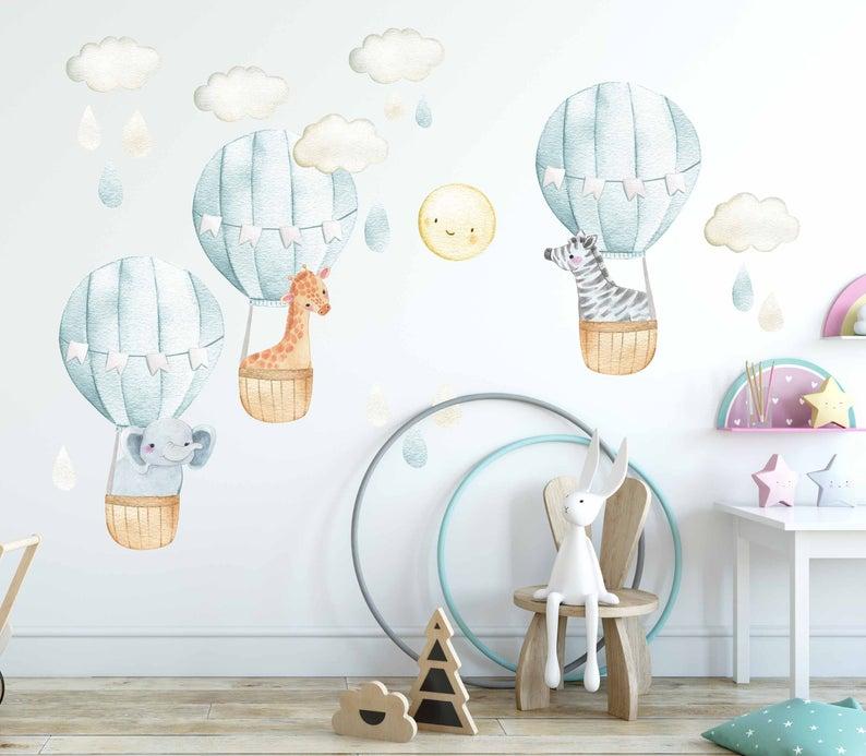 Air Balloons Kids Nursery Baby Room Decor Air Balloons Wall Decal Hot Air Balloons Wall Sticker Jungle Safari Animals Wall Decal Sticker