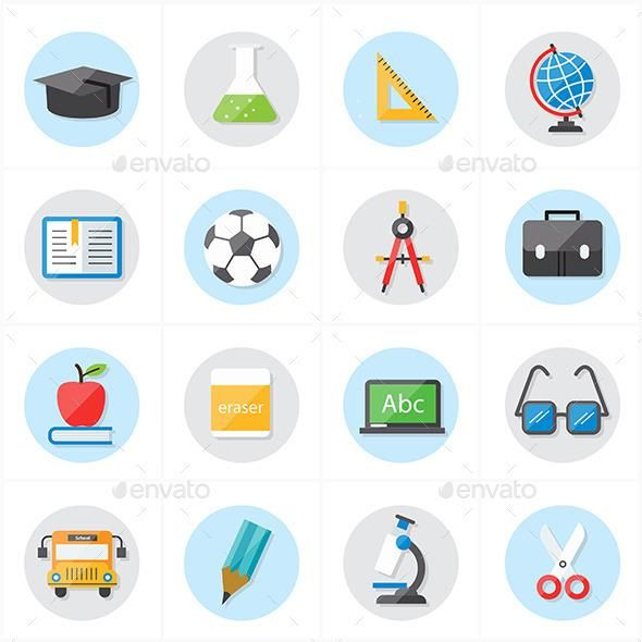Flat Icons For Education And School