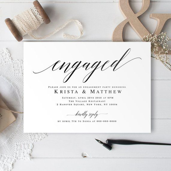Engaged Invitation Engagement Template Printable