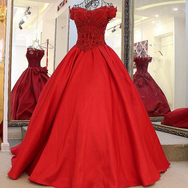 China Rote Spitze Mieder Perlen Prom Kleider 2017 Plus Größe ...