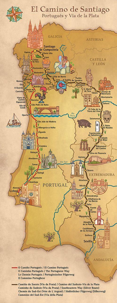 Camino De Santiago Portugues And Via De La Plata Pilgrim Souvenir