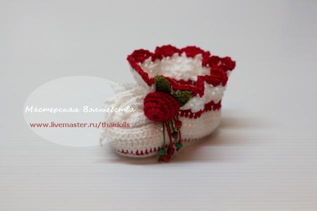 Как связать пинеточки для новорожденной девочки крючком - Ярмарка Мастеров - ручная работа, handmade