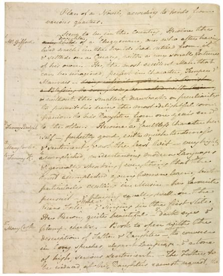 Autograph manuscript of a plan of a novel, according to hints from various quarters [circa 1815] | Jane Austen | The Morgan Library & Museum