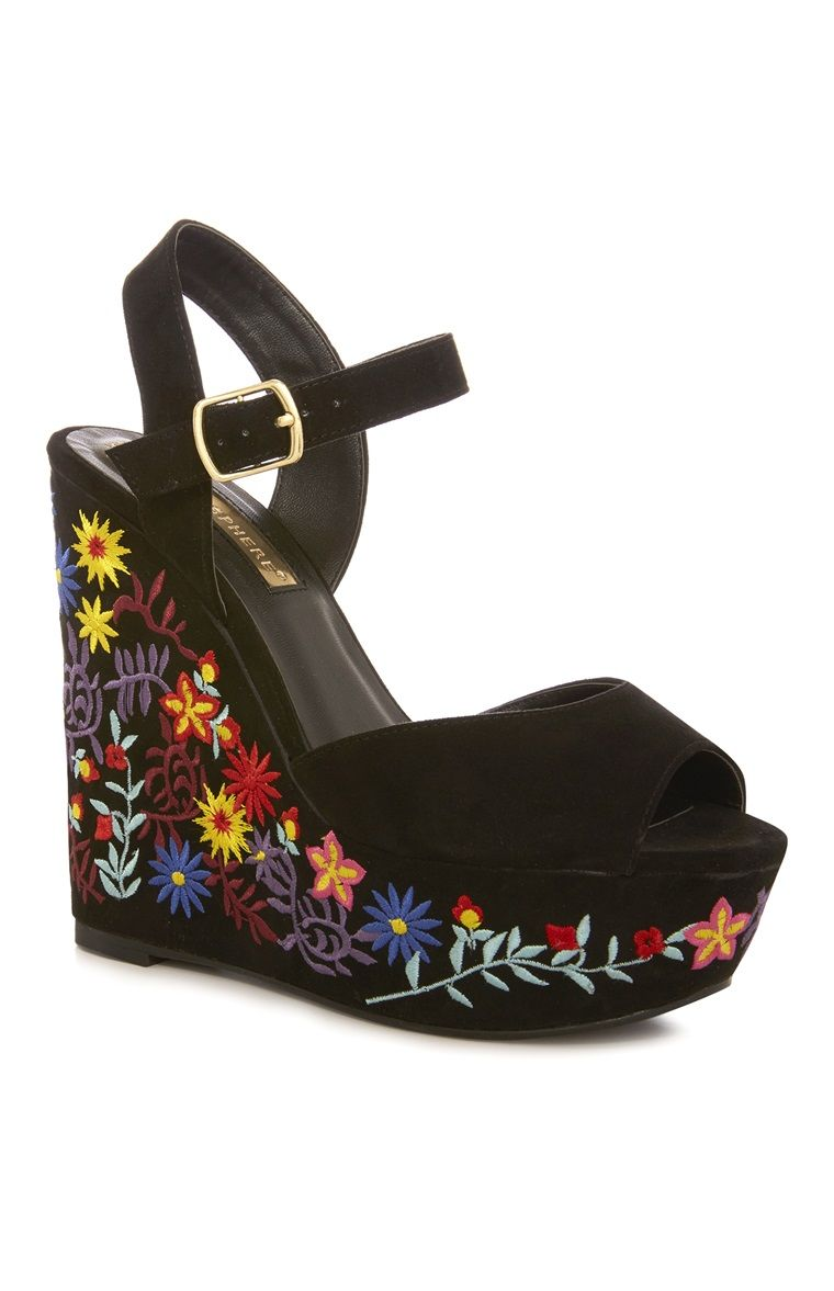 Flower Party Embroidered Black Chunky Heels