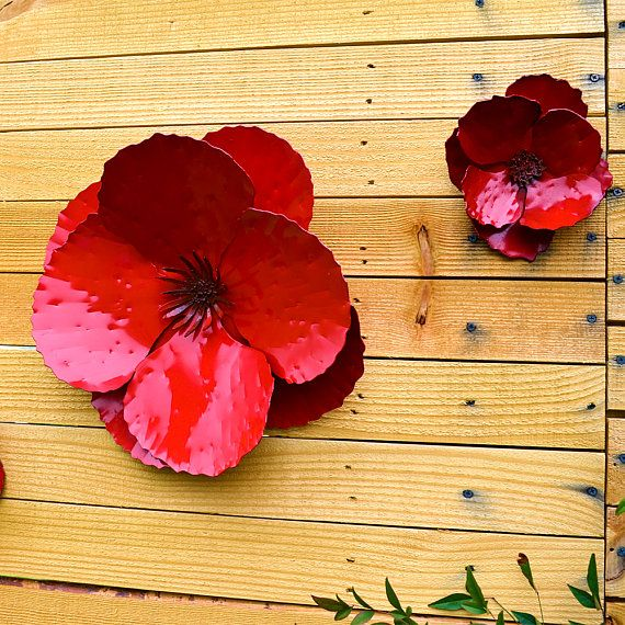 Giant Wall Hanging Poppy - Set of 3 Red Metal Flowers - Perfect Wall ...