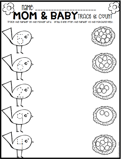 Spring Math And Literacy Printables And Worksheets For Pre K And Kindergarten Kindergarten Homework Literacy Printables Spring Math