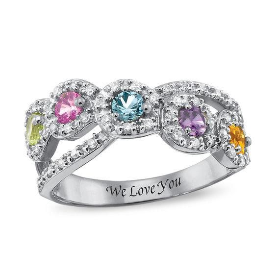 Zales Mothers Heart-Shaped Birthstone Bubbles Ring (2-5 Stones) kOOoSdaaag