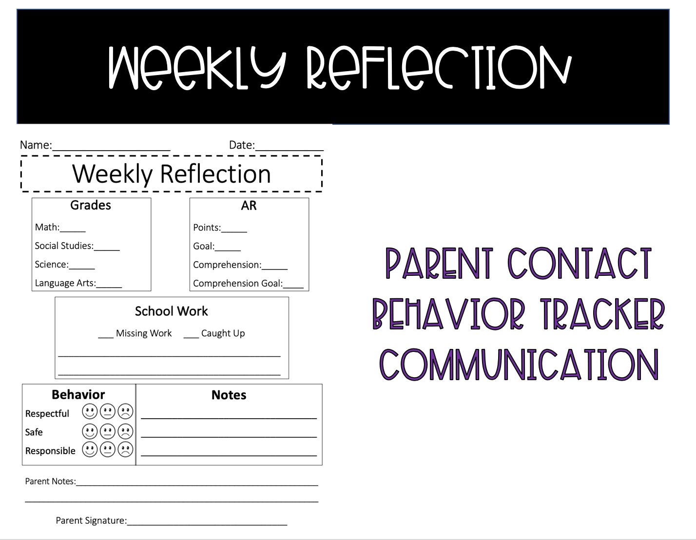 Weekly Reflection Sheet In
