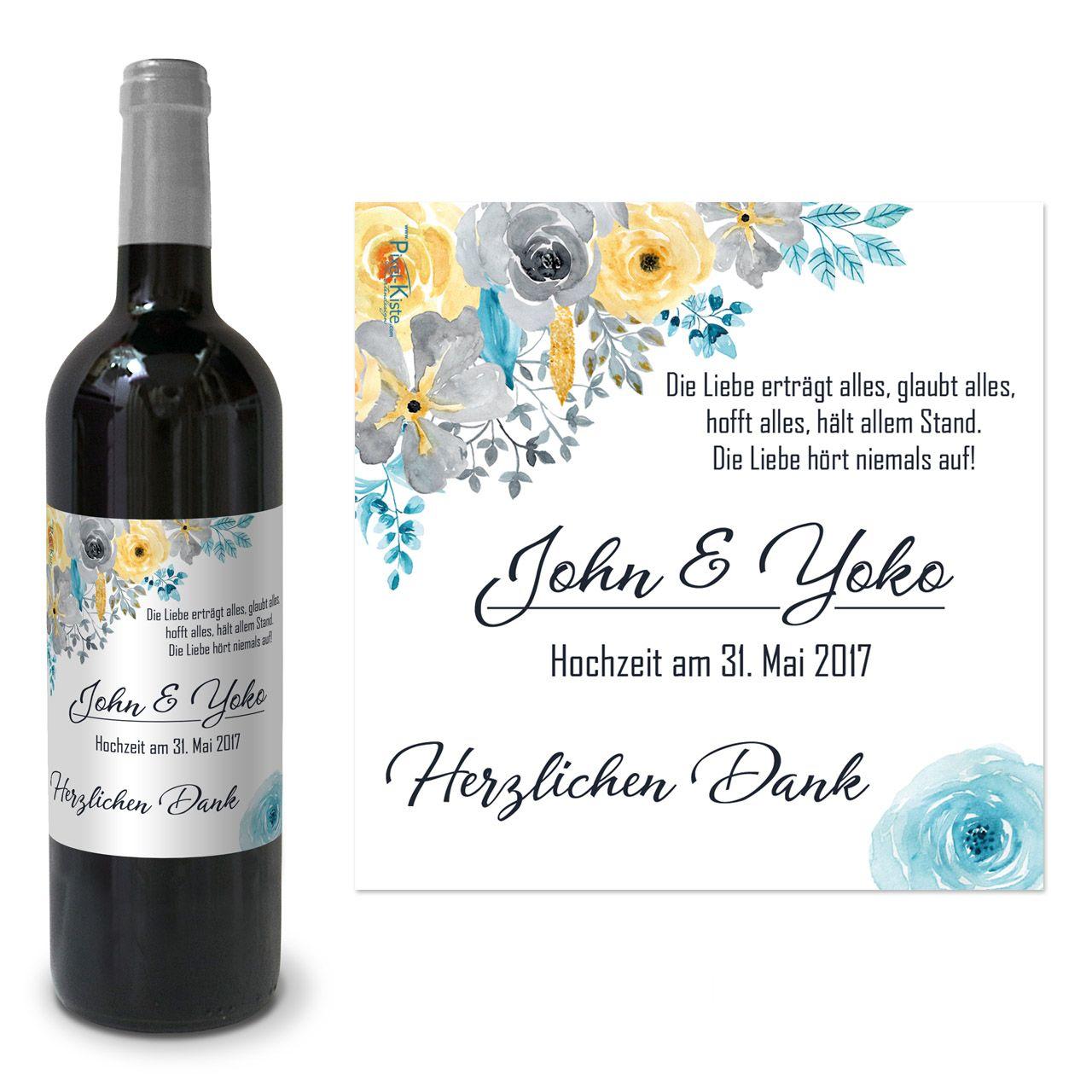 Bedruckte Weinetiketten Hochzeit Aquarell Bluten Gastgeschenk Giveaway Weinetiketten Etiketten Weinflasche