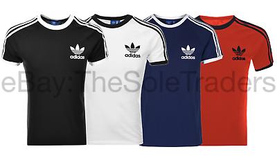 7f03ed87060 Mens Adidas Originals California Retro Sport T Shirt Black Red White All  Sizes