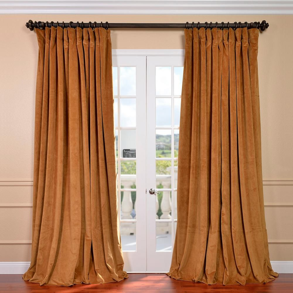 Double Wide Curtain Panels Exclusive Fabrics Furnishings Blackout Signature Amber Gold