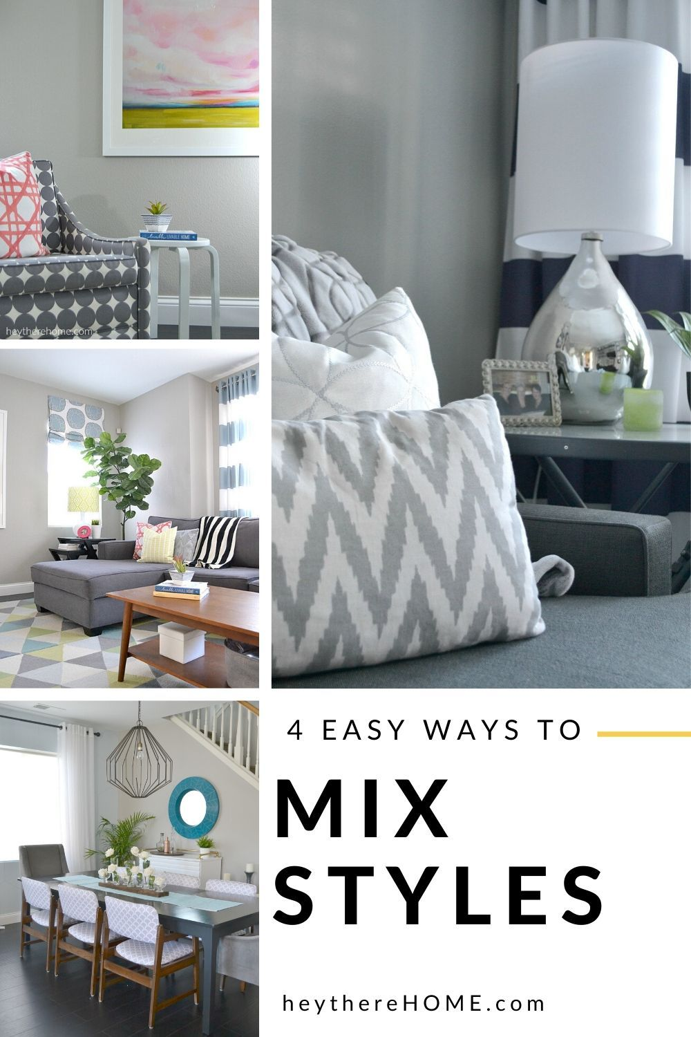 4 simple tips that will having you mixing different decorating styles like a pro!  #homedecor #decorating #decorstyle #decorproblems  via @heytherehome.com