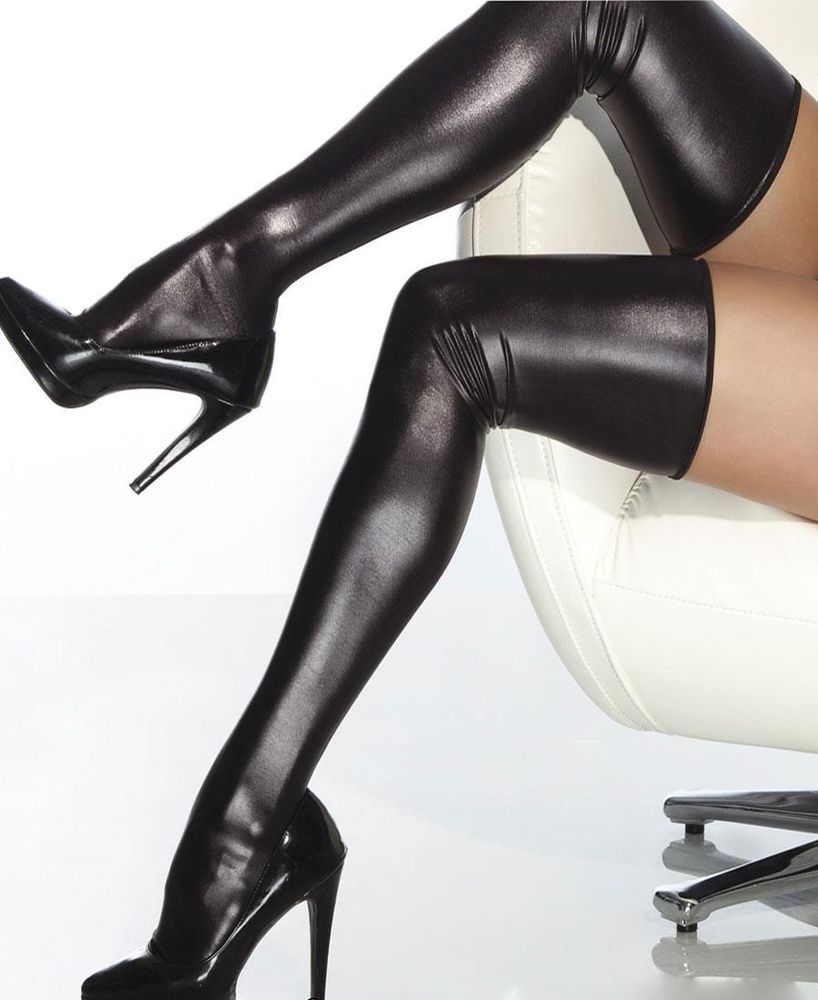 28f4b6b67342ee Plus Size Wet Look Thigh High Stockings - Plus Size - Black - Coquette  D1728X #Coquette #Stockings