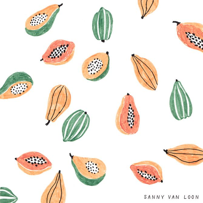 Papaya pattern - Sanny van Loon • Illustration