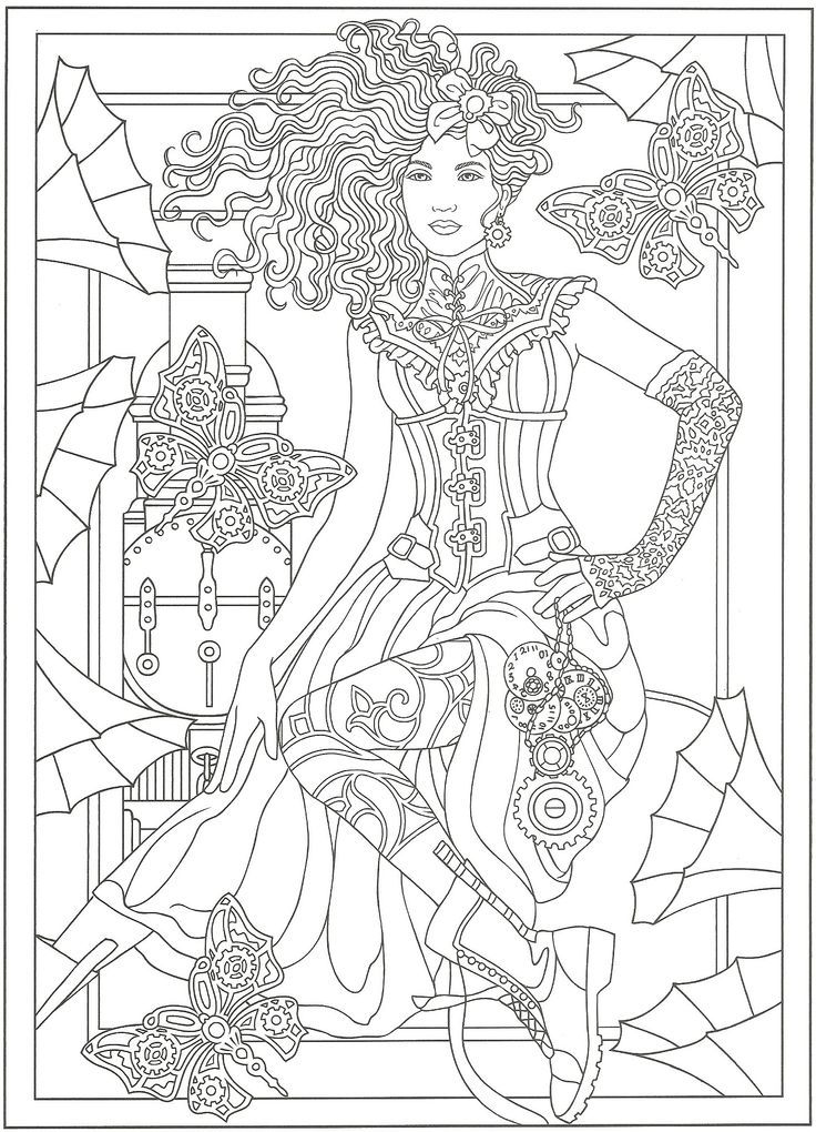 from creative haven steampunk fashions coloring book dover - Dover Coloring Books For Adults