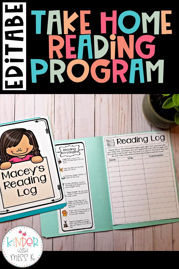 Editable Take Home Reading Program and Reading Log
