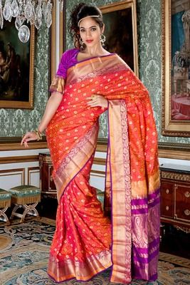 83370262af Peachish orange pure silk zari weaved saree in purple zari weaved ...
