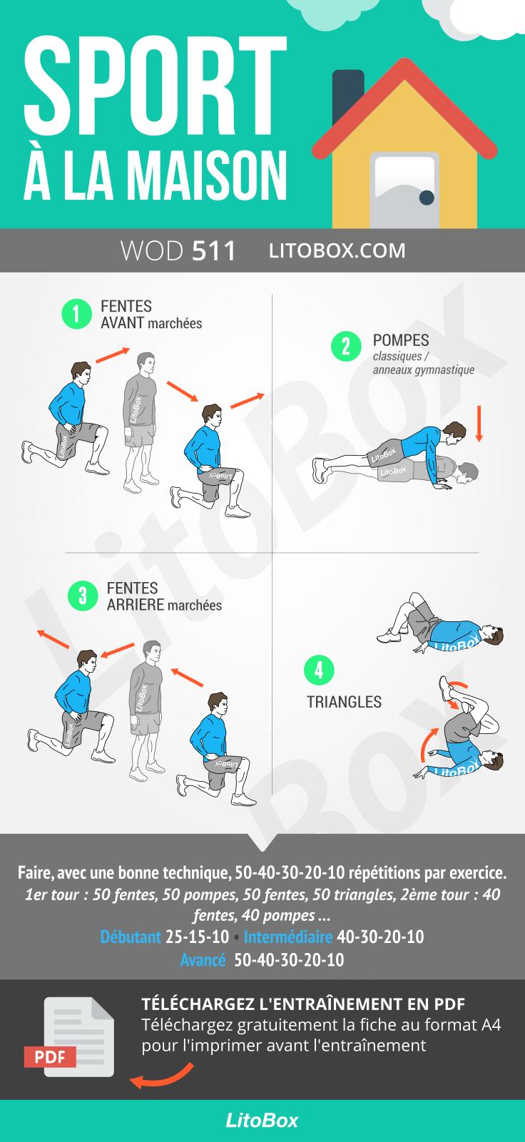 Sport A La Maison 600 Repetitions Pdf A Telecharger Musculation A La Maison Programme Sportif Programme Musculation